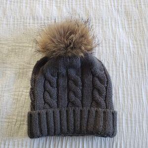 Real Raccoon Fur Pom Pom Warm Winter Knit Beanie B